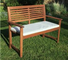 Malmo 2 Seat Hardwood Garden Bench With Cream Cushion 1/2 Price Deal